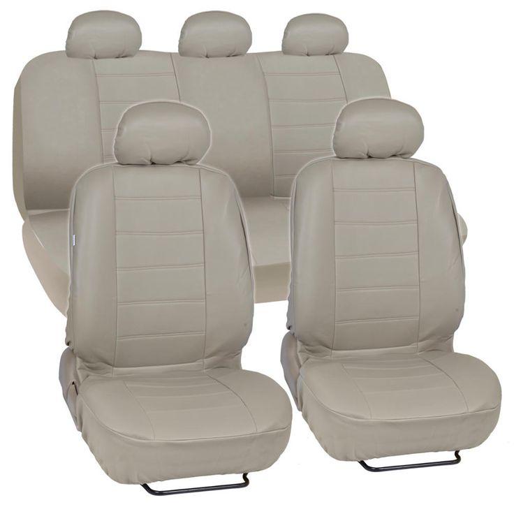 BDK Synthetic Leather Car Seat Covers Complete Set - Premium Leatherette (3 Color)