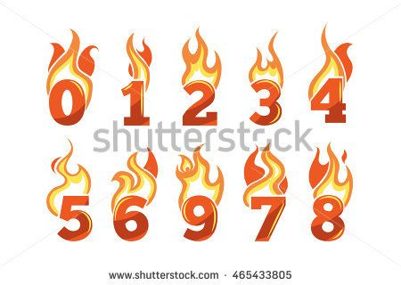 vector cartoon icons set of orange Flaming Numbers. Pictures isolate on light background. Illustrations for your personal emblems or logo design