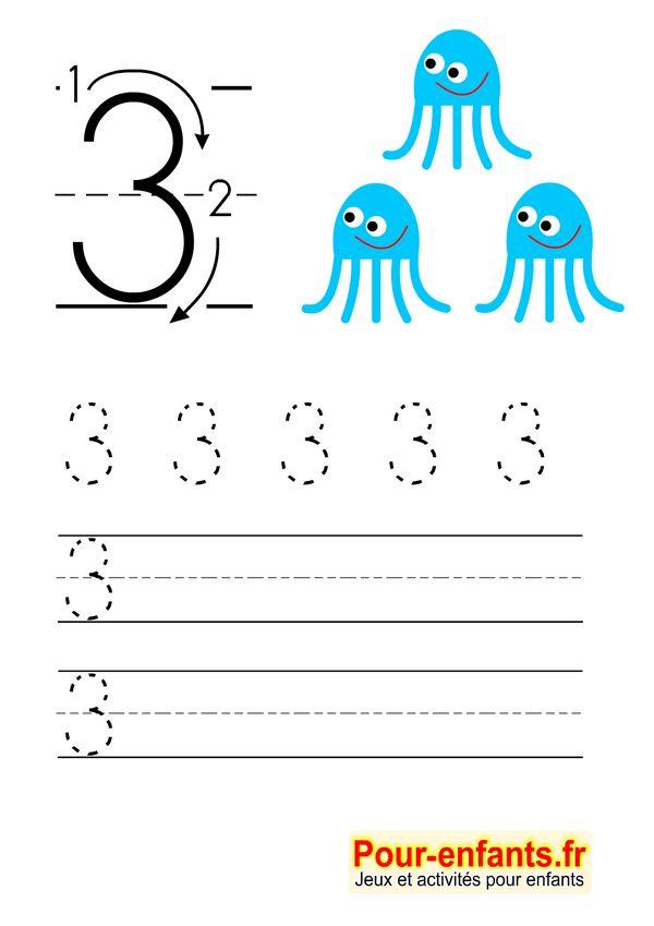 Apprendre à écrire les chiffres en maternelle gratuit cahier d'écriture à imprimer gratuitement Savoir écrire 3 trois