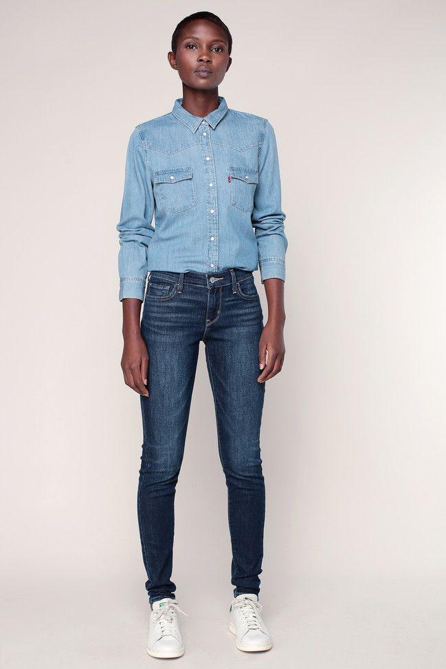 Jean 710 super skinny Amber Night Levi's prix promo Jeans Femme Monshowroom 109.00 €