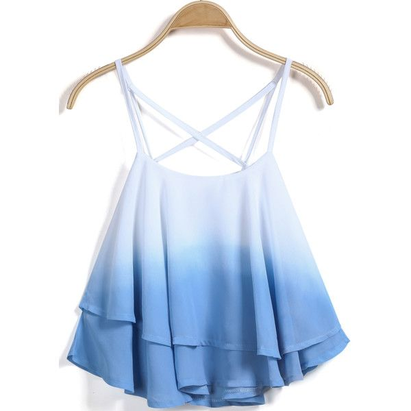 SheIn(sheinside) Blue Criss Cross Ruffle Cami Top ($12) ❤ liked on Polyvore featuring tops, shirts, crop tops, tanks, blue, blue chiffon shirt, cropped cami, crop shirts, blue tank top and blue crop top