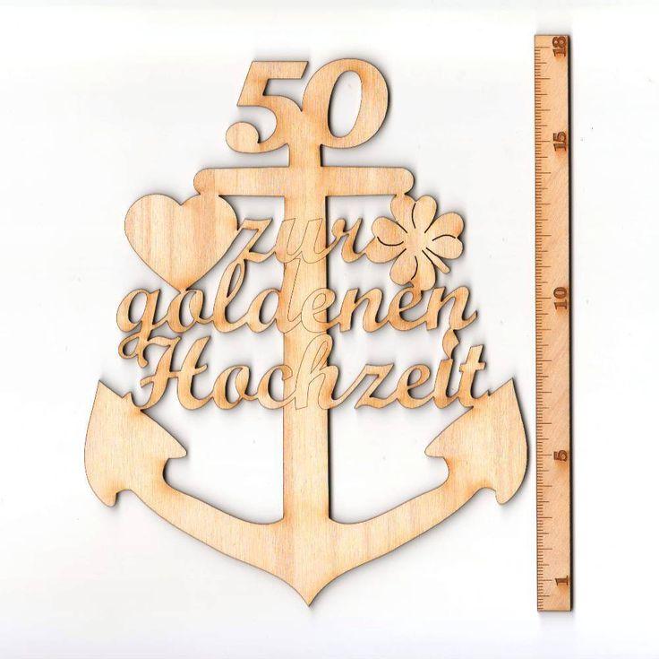 Hölzerne Hochzeit Anker aus Holz, 5 Jahre mit Gravur