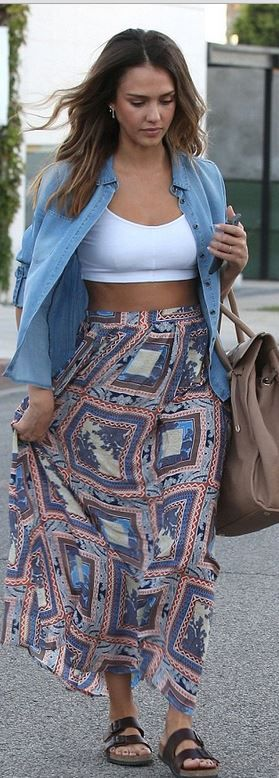 Who made Jessica Alba's white top, print skirt, sunglasses, brown flat sandals, and tan tote handbag that she wore in West Hollywood