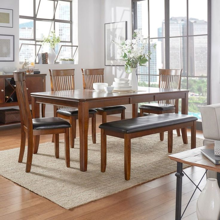 Dining Table Set for 6 Chairs Bench Evening Meals Holiday Celebration, Cherry…