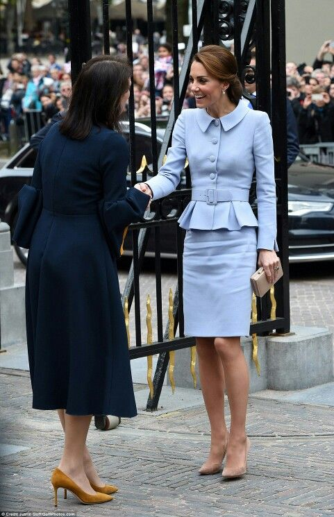 Catherine Duchess of Cambridge meets with the director of the Mauritshuis gallery in the Hague. October 11 2016