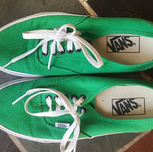 Bright Green Vans Women's Size 8.5/Men's Size 7 Green Vans. Only worn a couple times (too small). Small marks that can be washed off. Vans Shoes Sneakers