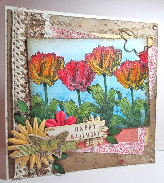 Beautiful Blooms DT card for Fashionable stamping Challenge June 2016