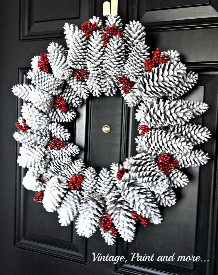 Pine Cone Wreath with white pine cones & red berries (from Vintage, Paint and more)