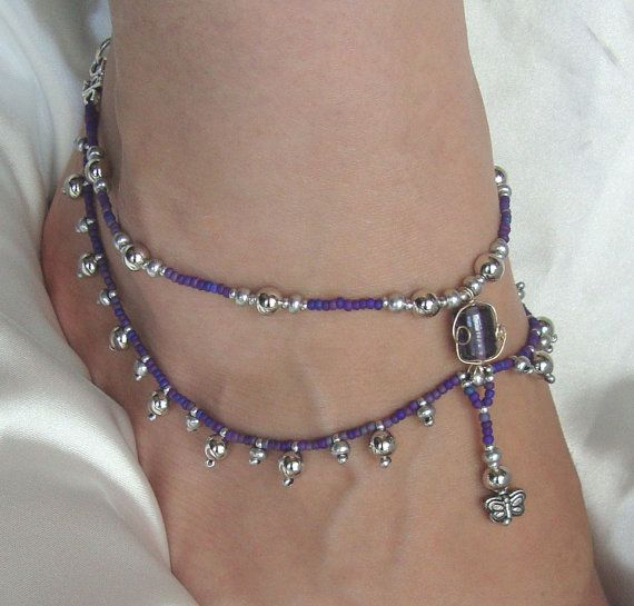 Purple and Silver Beaded Drop Anklet