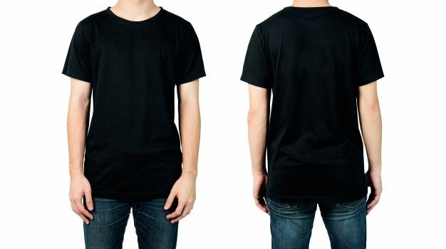 Download Man In Blank Black T Shirt Front And Back Views Of Mock Up For Design Print Kaos Baju Kaos Pakaian Hangat