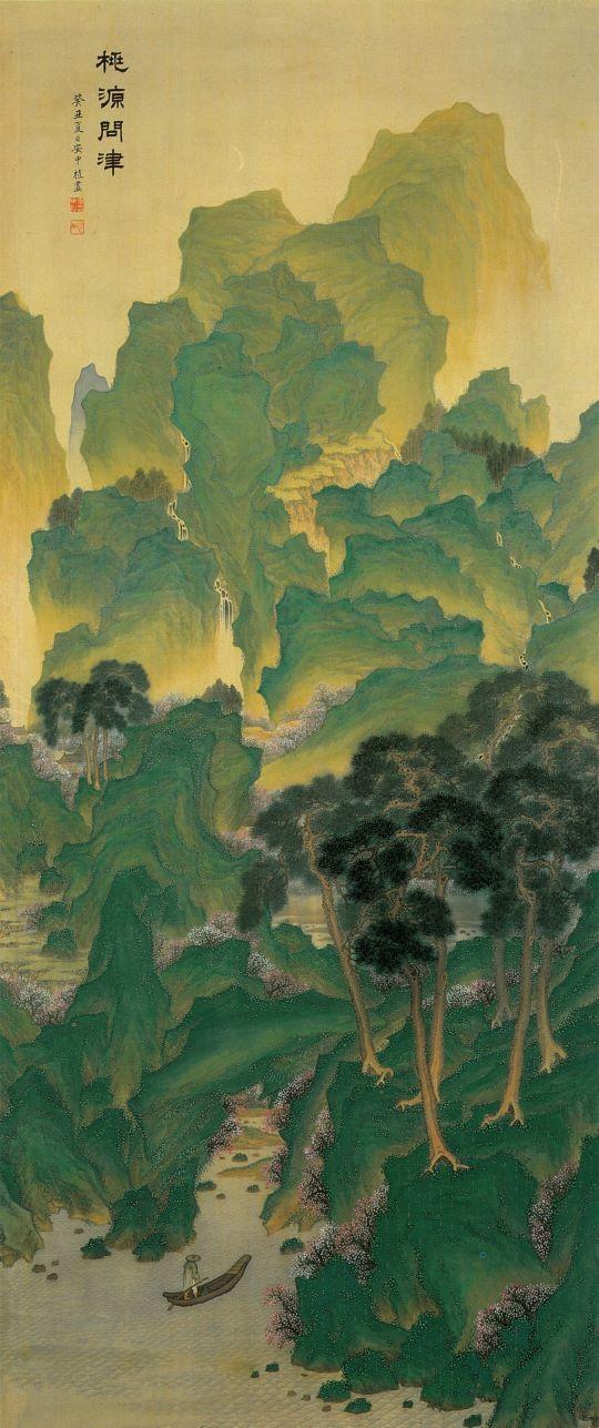 심전 안중식 (1861-1919), 도원문진도, 1913년 작, 수묵채색화.