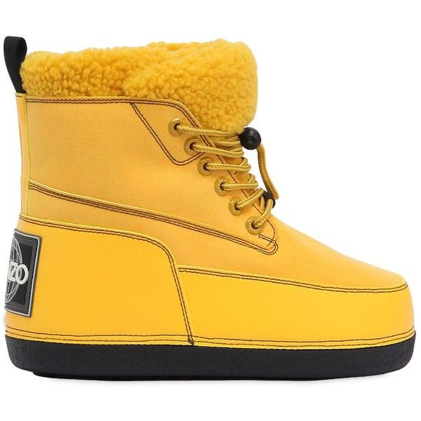Kenzo Women Nebraska Faux Shearling Snow Boots (€335) ❤ liked on Polyvore featuring shoes, boots, yellow, yellow boots, faux shearling boots, logo shoes, leather upper shoes and rubber sole boots