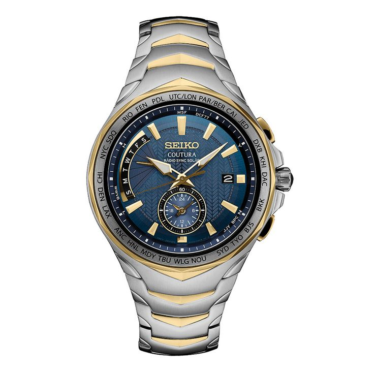 Seiko Coutura Radio Sync Solar SSG020 - Cabochon crown, Sapphire crystal, Automatically receives radio signals to precisely adjust the time and calendar.