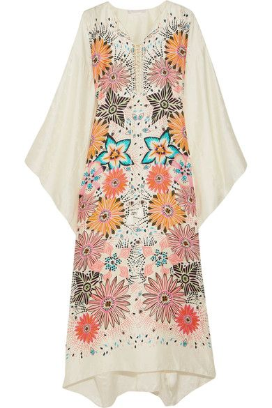 EXCLUSIVE AT NET-A-PORTER.COM. For its High Summer '17 collection, Chloé looked to the hazy days of Ibiza in the '70s for inspiration. This kaftan is draped from floral silk-jacquard and patterned with vibrant coral and navy flowers. Its billowy shape makes it perfect for sun-soaked days, both at home or on vacation.