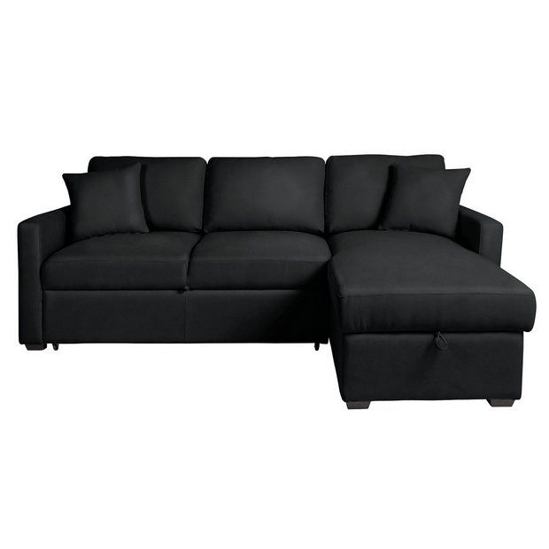 buy home reagan leather effect corner chaise sofa bed black at rh pinterest com