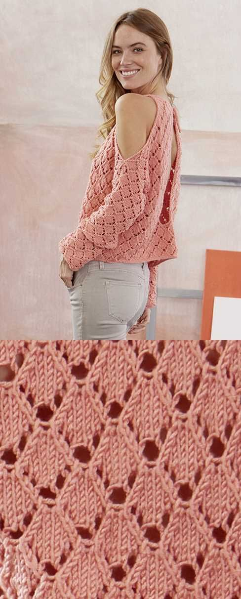 Free Knitting Pattern for a Shoulderless Lace Top. Modern knitting pattern for w…