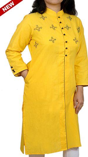 Women Corporate Kurtas, Women Corporate Wear, Womens Wear, Indian Concepts, Sunny Yellow Hand-Embroidered Yoke Corporate Kurta