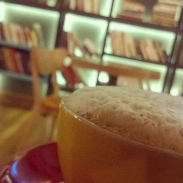 Chillax on Friday Night with a cup of Cappuccino with books. Heavy taste of espresso yet fulfilling #LibraryCoffeeBar #Cappuccino #Bangsar #Nexus #Chillax #Cafe