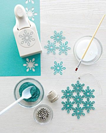 Glittered Snowflake Ornaments: use a color of cardstock that matches the color of glitter you want to use. Punch shapes. Glue together and allow to dry. Use a craft glue that dries clear. Then, brush glue over the shapes, sprinkle glitter, allow to dry and add a string to hang.