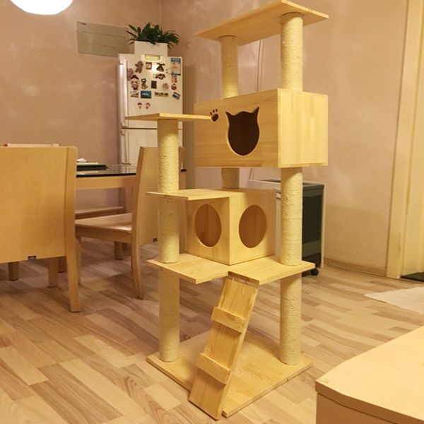 Wooden cat tree cat scratcher pet climbing house furniture with natural pine wood & sisal rope size 50*50*144cm-in Beds & Furniture from Home & Garden on Aliexpress.com | Alibaba Group