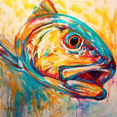 Expressionist Redfish A Contemporary Red Drum Fly Fishing Painting By Renowned Flyfishing Game Fish Artist Savlen