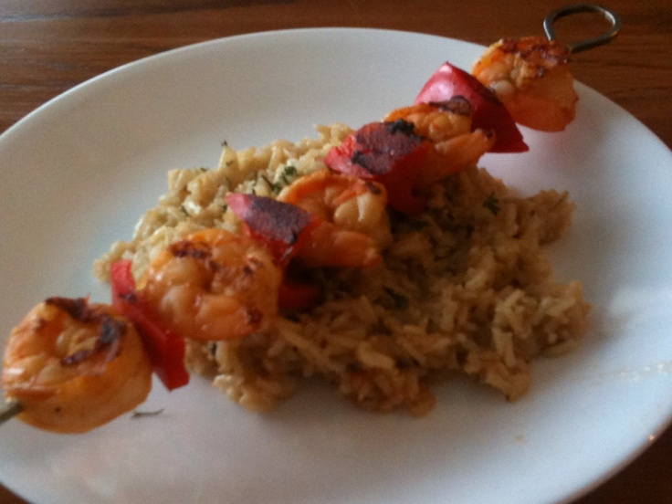 Spicy shrimp kabob and fried brown rice. | food | Pinterest