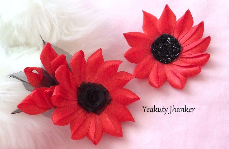 DIY: How to make a Kanzashi ribbon flower hair clip.