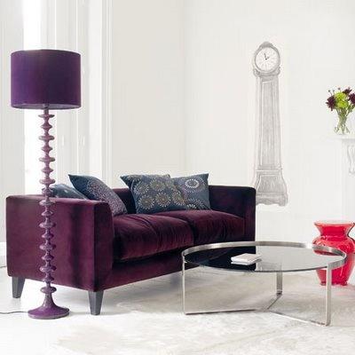 Great Purple Floor Lamp And Sofa.