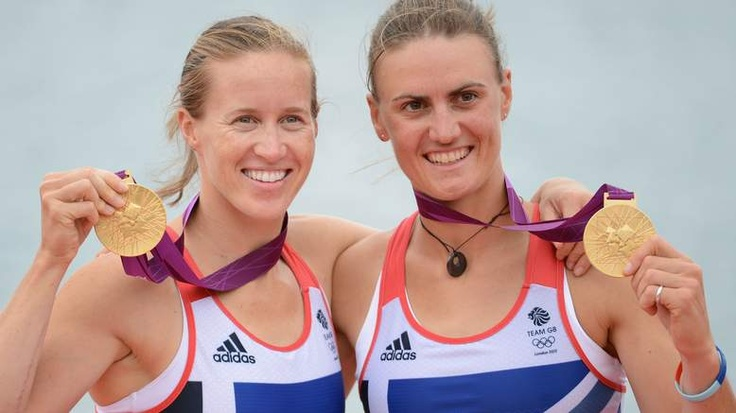 Helen Glover and Heather Stanning with their gold medals. Team GB. Rowing.