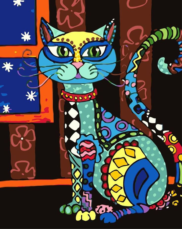 Color cat diy paint by numbers kits wm590 in 2020 folk