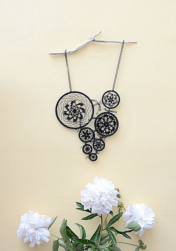 Black dream catcher Black 7 mandalas Black Crochet by GypsysSummer