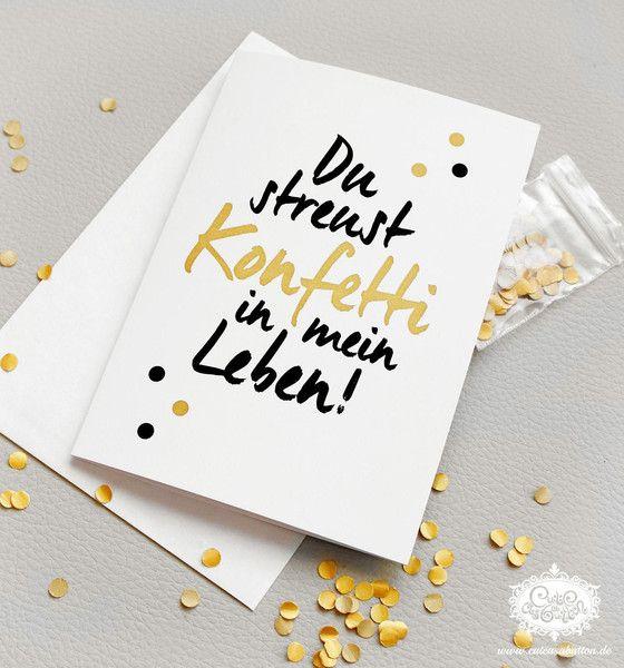Grüße - konfetti karte 'Du streust Konfetti in mein Leben' - ein Designerstück von cute_as_a_button bei DaWanda