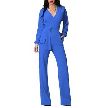 新しいファッション秋と冬の女性ジャンプスーツエレガントな女性のカジュアル無地ワイド脚パンツ全体WMZ2122