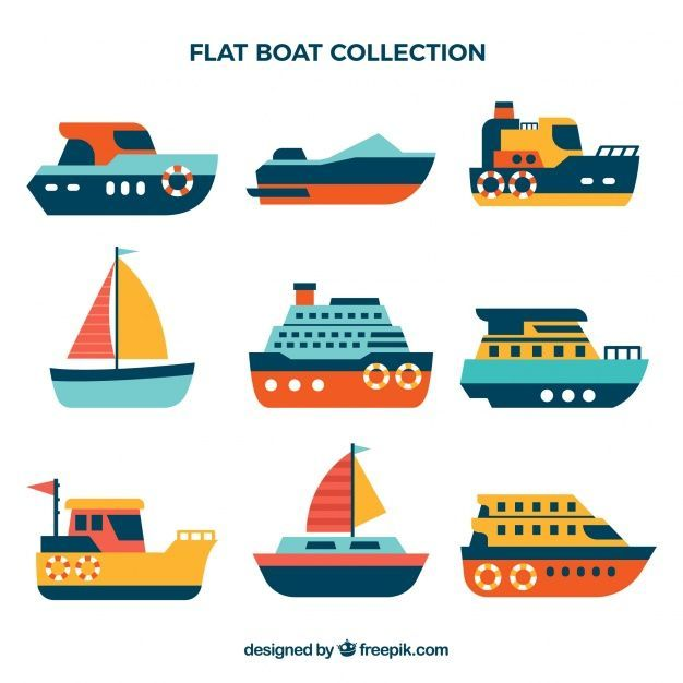 Selection Of Flat Colored Boats Free Vector Yachtconcept With