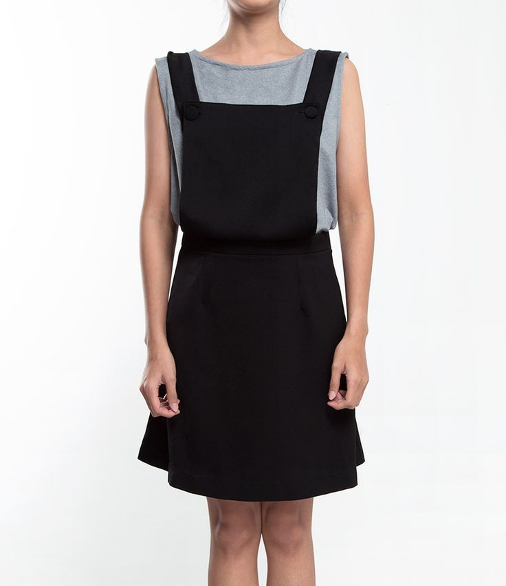 Black overall with good material. It has back zipper closure. Available in black color only and all size. http://www.zocko.com/z/JJs52