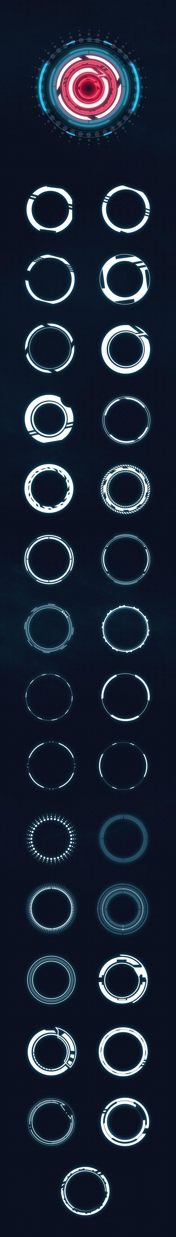 Hi-tech HUD circles - Custom Shapes - Shapes Photoshop