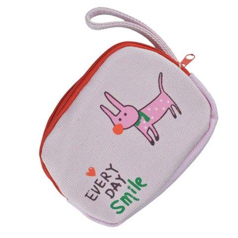 Bettwäsche Reißverschluss Geldbörse mit Tiermuster (Pink Puppy)
