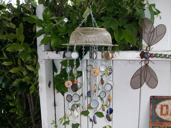 Up-cycled bottle cap and salvaged metal wind-chime