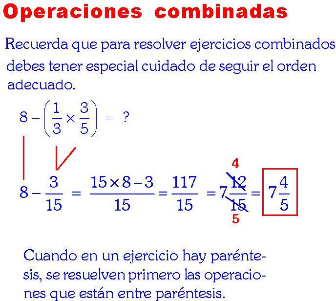 Academia Rubiños Operaciones Combinadas Con Fracciones Ejemplos Y E Fracciones Matematicas Fracciones Multiplicación De Fracciones
