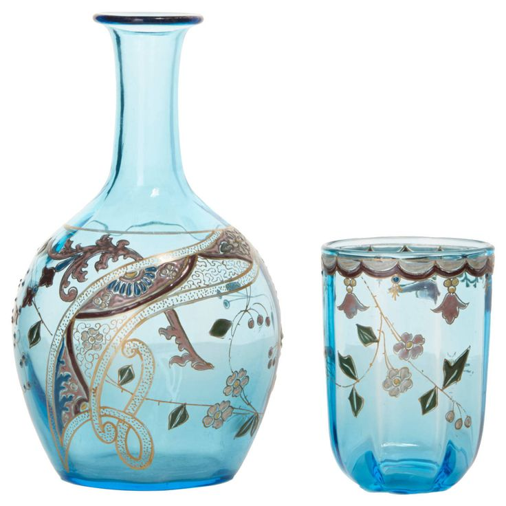 19th Century Victorian Enameled Bedside Water Carafe Set   From a unique collection of antique and modern garniture at https://www.1stdibs.com/furniture/dining-entertaining/garniture/