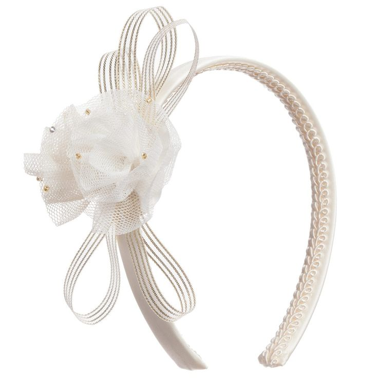 Graci Ivory & Gold Hairband with Tulle Flower at Childrensalon.com