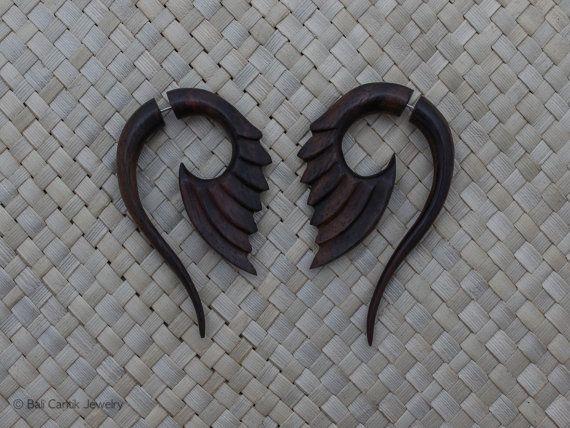 Calibre faux bois, faux Bois Sono Piercing, boucles d'oreilles Tribal Fake Gauge