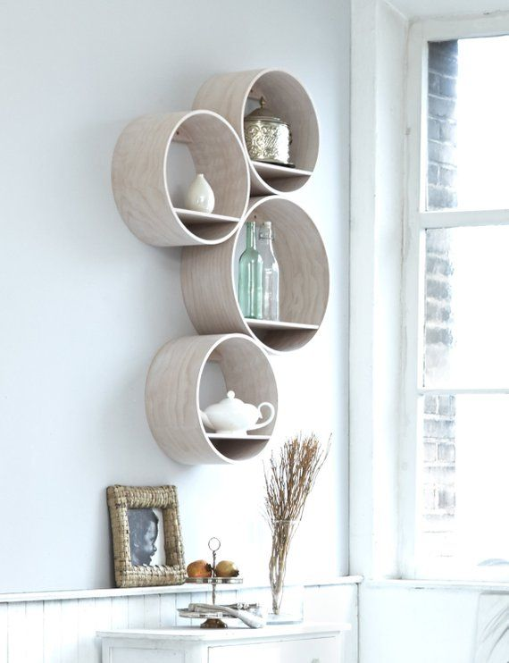 4 round wall shelves small wood white stained incl wall holder rh pinterest com