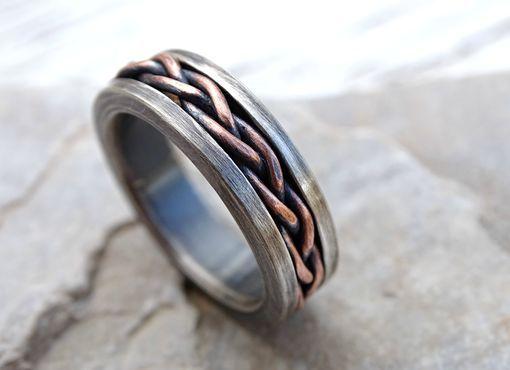 Custom Made Viking Wedding Band, Braided Ring Two Tone, Rustic Mens Ring, Unique Mens Ring Rustic