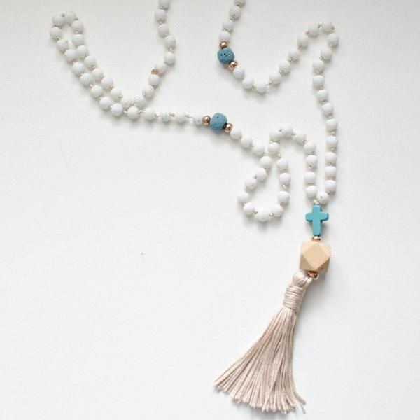 Lava & Wood rosary necklace
