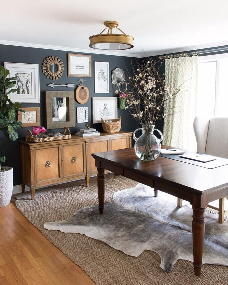 Home office with layered rugs jute and