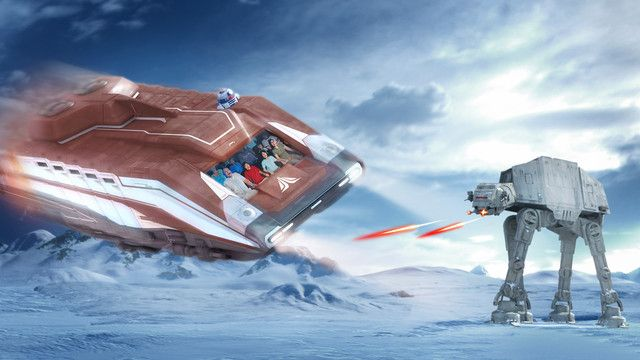 An AT-AT attacks a Starspeeder 1000 during the Battle of Hoth at Star Tours - The Adventures Continue