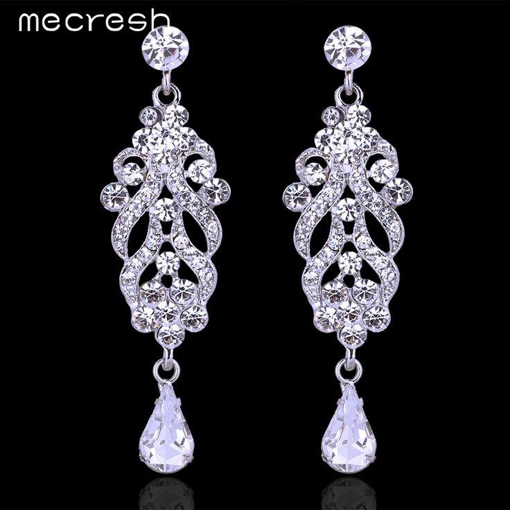 Mecresh Elegant Crystal Chandelier Wedding Earrings Silver Plated Rhinestone Fashion Party Bridal Wedding Jewelry EH610