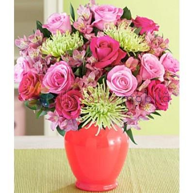 buchet  trandafiri, crizanteme si alstroemeria