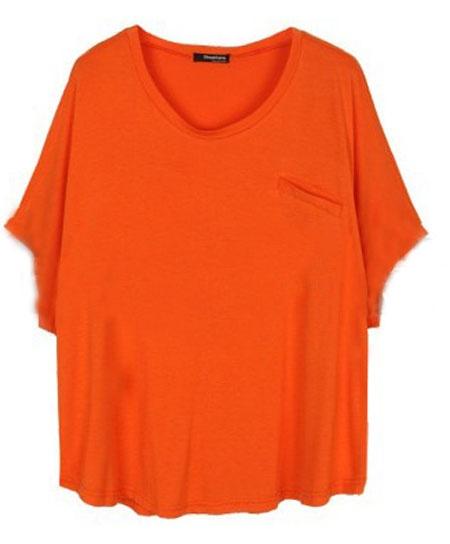 Orange Batwing Round Neck Single Pocket Modal T-Shirt